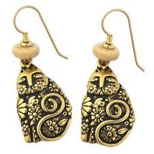Cat Lovers Gold Tone Drop Earrings