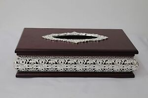 ARABIAN Style Tissue box case/cover in a MAHOGANY and SILVER COLOUR