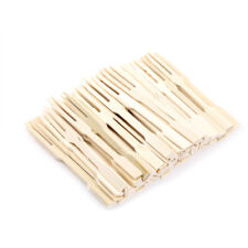 80Pcs Bamboo Disposable Wooden Fruit Fork Dessert Forks Tableware Party Decor EB