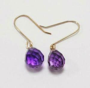 SYJEWELLERY NEW 9CT SOLID YELLOW GOLD TEAR SHAPED NATURAL AMETHYST DROP EARRINGS