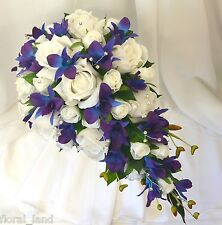 Silk wedding flowers blue purple orchids white roses teardrop bouquet flower