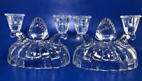 Vintage Heavy Clear Glass Double Taper Candlestick Holders Candelabras