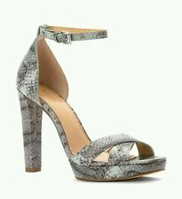 Michael Kors Dimitar Ankle Strap Dress Sandals Celadon Snake Size 8 MSRP $150