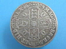 1673 Rey Carlos II-Corona De Plata Moneda-qvinto Edge-Alto Valor