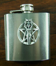 Pentagram and Girl 3oz Stainless Hip Flask FREE UK POST  death pagan witch