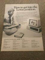 Vintage 1984 LOTUS 1-2-3 COMPUTER SOFTWARE Print Ad w/ IBM COMPUTER 1980s RARE