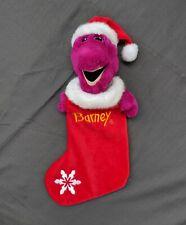 Barney Christmas Stocking Plush Vintage 1993 Dakin Snowflake Dinosaur Holiday