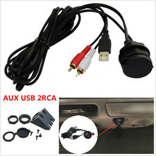 3.5mm AUX USB 2 RCA Extension Male to Female Cable USB Port Car Dash Flush Mount