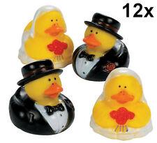 12 Bride & Groom Rubber Ducks - Wedding Party Favor Cake Topper Duckies Ducky