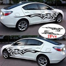 1pair Car Body Side Door Decor Decal Sticker Black Flame Graphics Racing Stripes