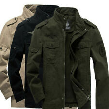 Mens Vintage Combat Field Military Jacket Army Coat Winter Cargo Zip Casual Tops