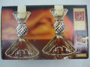 "Vintage Ballerina 4"" tall 24% Lead Crystal Candlesticks Candle Holders Pair USA"