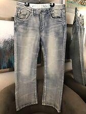 Marc Ecko Denim Jeans Light Blue Bleached Wash Mens Size 38x30 $79.98