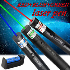 3pc Green Red Blue Zoom Laser Pointer Pen Visible Beam Light Lazer+18650+Charger