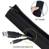 Neoprene Cable Management Sleeve Zipper Wrap Wire Hider Cover Organizer Black