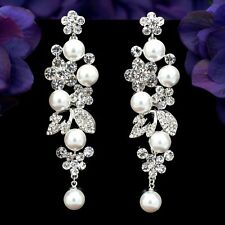 Rhodium Plated Clear Crystal Pearl Wedding Chandelier Drop Dangle Earrings 08170