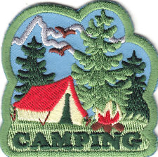"""CAMPING"" - IRON ON PATCH - TENT, TREES - BONFIRE - TRIP -  VACATION - OUTDOORS"