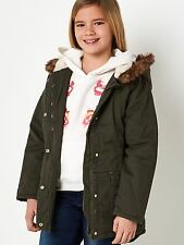 Girls Parka Coat 9-10 Years New Hooded Khaki Fleece Fur Quilted Cotton School