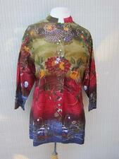 Chicos RED Layering Jacket EMBROIDERY BEADED 100% SILK  SIZE 1 MED