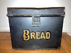 Antique Advertising Schaffer Bread Black Tin Metal Box Primitive