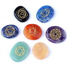 Engraved Chakra Stone Palm Stone Unique Crystal Reiki Healing 7 pcs/set EN0512SY