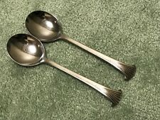 2 Viners of Sheffield VS Stainless Steel Round Cream Soup Spoons Plume Tip VGUC