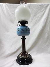 Antique Victorian SOCLE PORCELAINE & LAITON lampe à pétrole c.1880