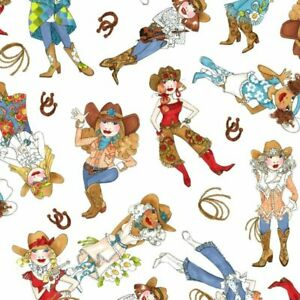 Loralie Designs White Tossed Cowgirls Cotton Fabric 692-316-12 BTY