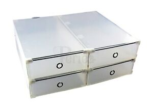 x4 Periea UK Strong Plastic & Steel Shoe Storage Boxes Drawers - Knee High Boots