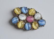 Unique Art Deco Open Back Cat's eye glass dress fur clip pastel color rhinestone