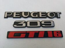 KIT 3 LOGOS RAPPE ENJOLIVEUR COFFRE HAYON 309 16 309 GTI 16 PEUGEOT