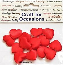 CRAFTS FOR OCCASIONS  2 CM PADDED FABRIC SATIN RED HEARTS  - PACK OF 15