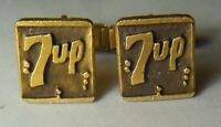 Old Vtg. Pepsi Co. employee store advertising 7Up soda logo emblem cufflinks