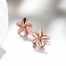 Women's Lovely Rose Gold Plated Earrings Crystal Small Flower Ear Stud Solid H7