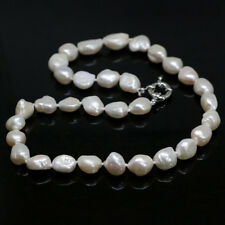 Natural white cultured freshwater irregular pearl necklace10-12mm women chain 18