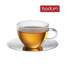 Bodum Piccolo Veneziano, 6* Glass Cup and Saucer, Coffee Cup Tea Cup Glasses Set