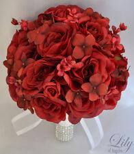 17pcs Wedding Bridal Bouquet Silk Flower Decoration Package Bride APPLE RED