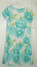 Gymboree size 7 Spring Aqua Big Flower Bow Twirly Dress