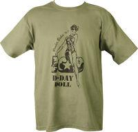 Military Printed D DAY T Shirt Olive Green PARA SAS TA