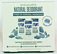 3-Pack Schmidt's Natural Deodorant Charcoal + Magnesium 3.25 Oz New NO BOX