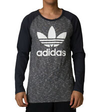 Men's New Adidas Originals Trefoil Logo T-Shirt Top - Black Grey - Retro Vintage