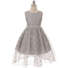 SILVER Flower Girl Dress Birthday Pageant Party Formal Wedding Bridesmaid Dance