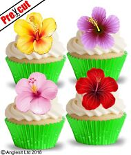 PRE-CUT HAWAIIAN FLOWERS III. EDIBLE WAFER CUP CAKE TOPPERS PARTY DECORATIONS