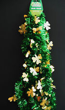 ST PATRICKS DAY GARLAND 9FT GREEN WITH GOLD SHAMROCK CLOVERS
