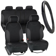 Car Seat Covers Set  & PU Leather Carbon Fiber Steering Wheel Cover - Charcoal