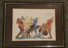 Vintage 1976 Artist Signed New Orleans Jazz Musicians Watercolor Ink Print