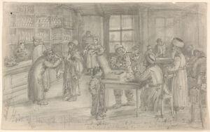 "Heinrich Michaelis (b. 1837) ""Jewish Traders in Tavern (Lodz, Poland)"", drawing"