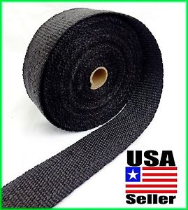 "BLACK FIBERGLASS WRAP EXHAUST HEADER PIPE THERMAL INSULATION TAPE 2"" x 25 FOOT"