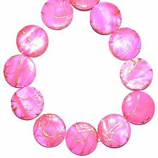 """MP765 Pink Gold Drizzle Drawbench 20mm Flat Round Mother of Pearl Shell Bead 16"""""""