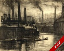 EAST LONDON FACTORY SMOKE ENGLAND ENGLISH LANDSCAPE ART PAINTING CANVAS PRINT